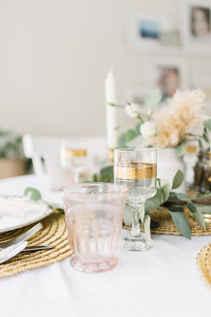 Blush and gold are unexpected but beautiful additions for a Thanksgiving tablescape
