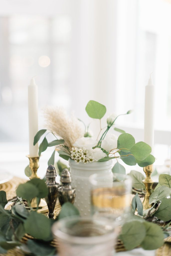 Dried florals in a hobnail jar add a touch of Fall to this tablescape
