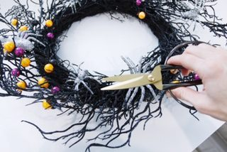 Halloween twig wreath dollar store hack