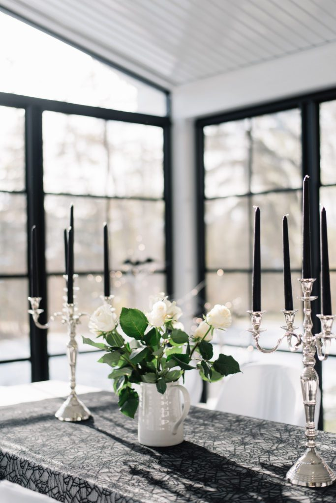 Candelabras add gothic flair to a Halloween tablescape