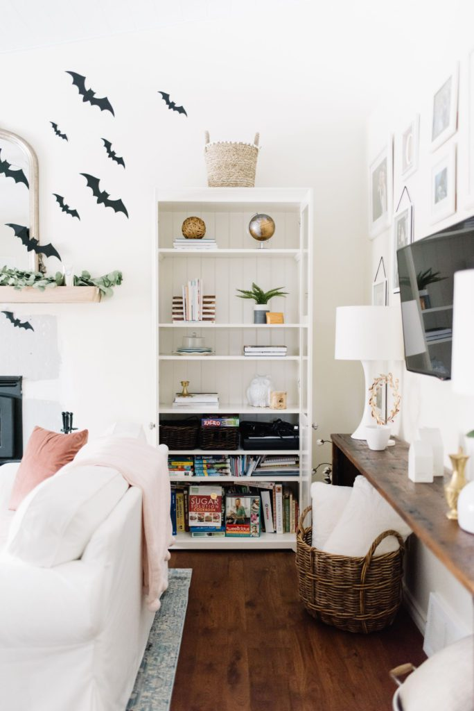 Bookcases add extra storage in a small living room renovation