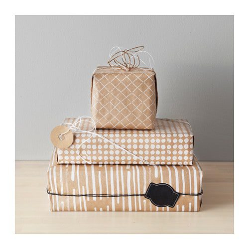 Ikea printed brown paper gift wrap for the win - The Ginger Home Gift Wrap Tips