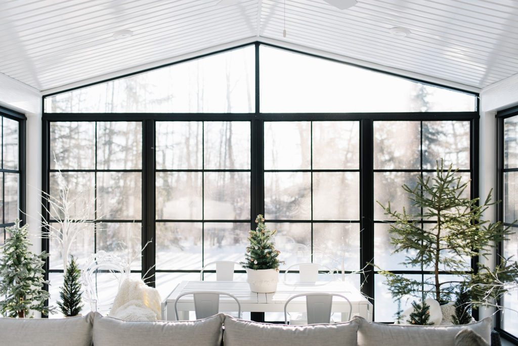 Winter wonderland three season room by The Ginger Home