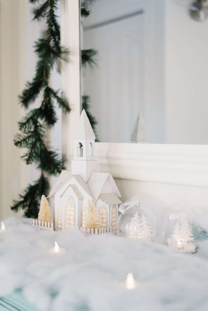A winter village vignette - The Ginger Home Christmas Decor