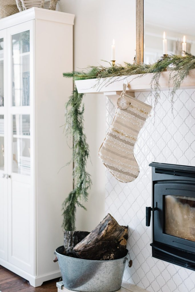 cozy Christmas mantel and fireplace at The Ginger Home