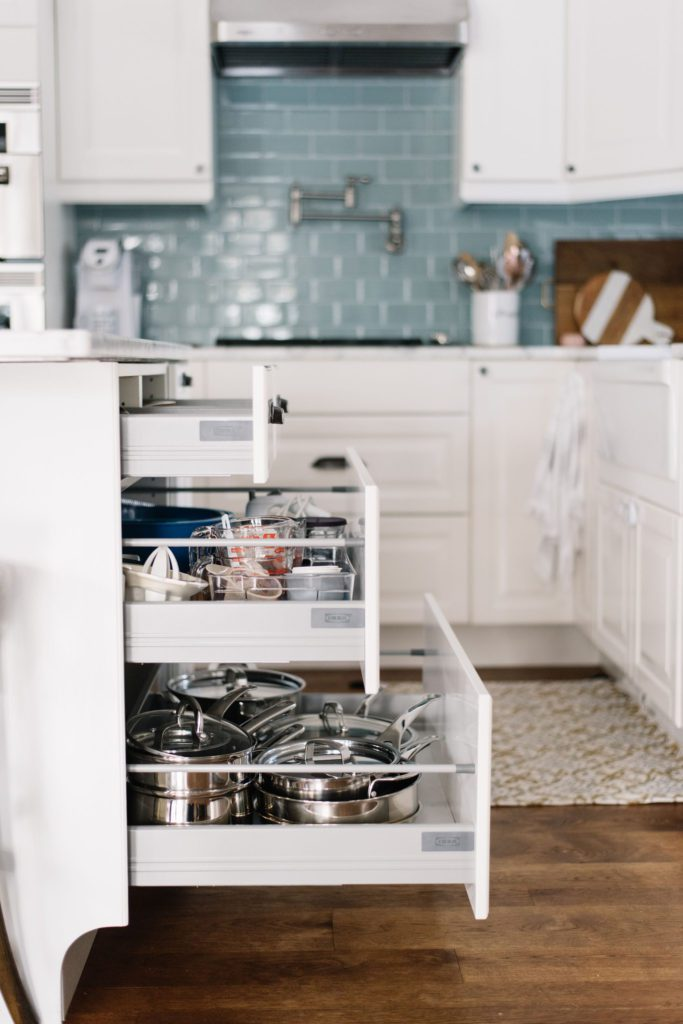 Drawers are the best way to maximize storage in a small kitchen space