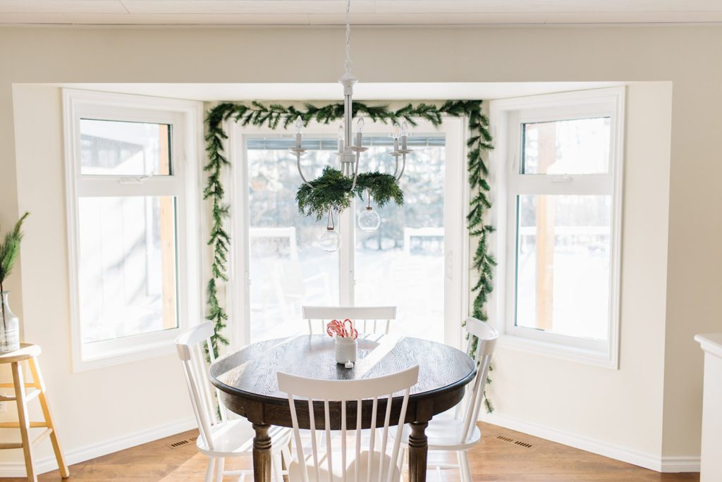 Simple Christmas garland in the dining nook at The GingerHome