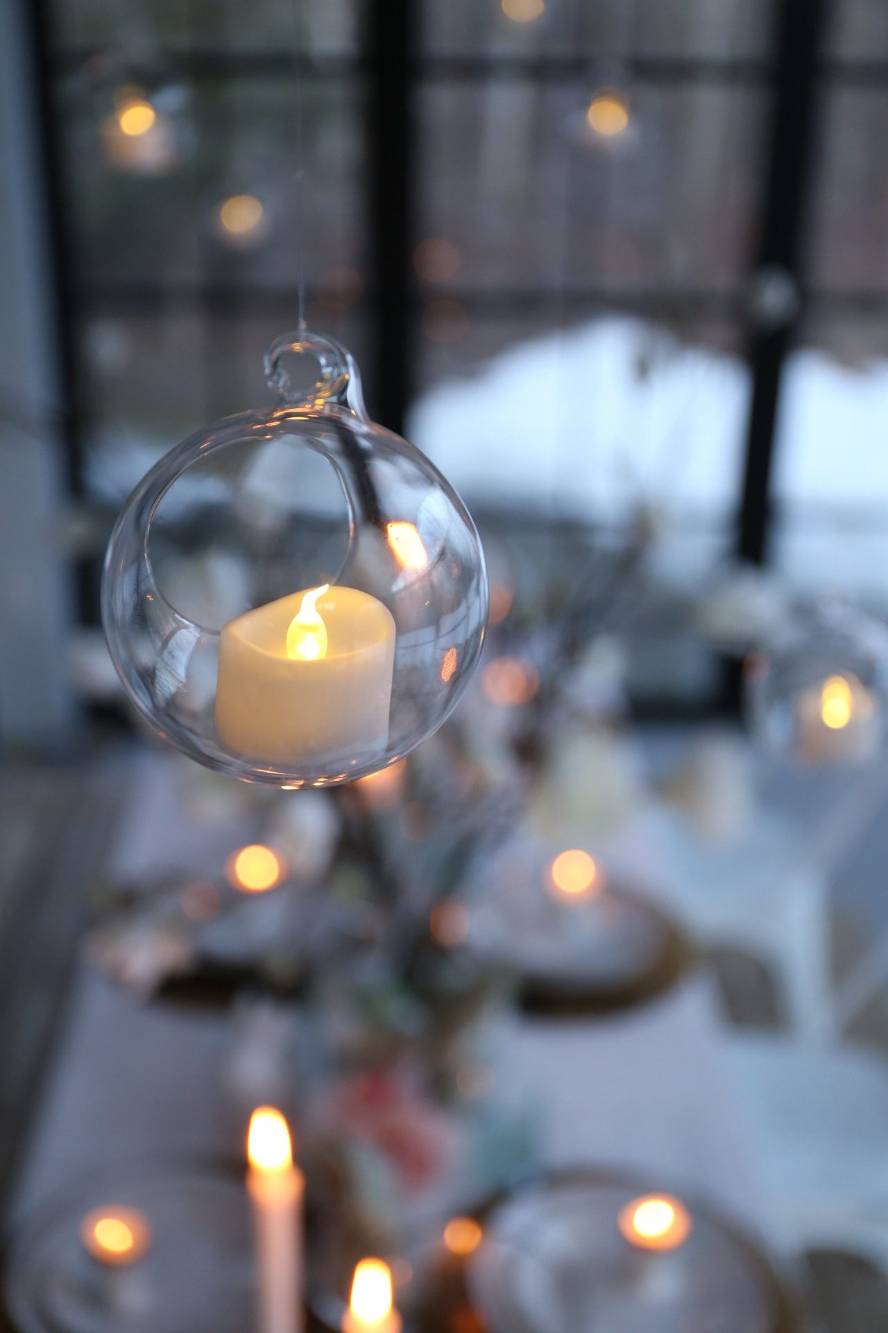 Candles and twinkle lights add warmth to your Winter Decor