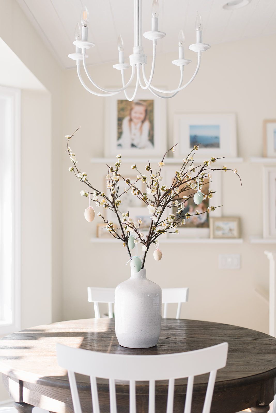 Cherry blossom branches and faux speckled eggs make a simple Easter Tree