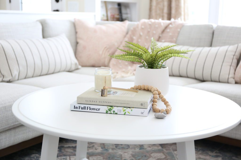 white styled coffee table