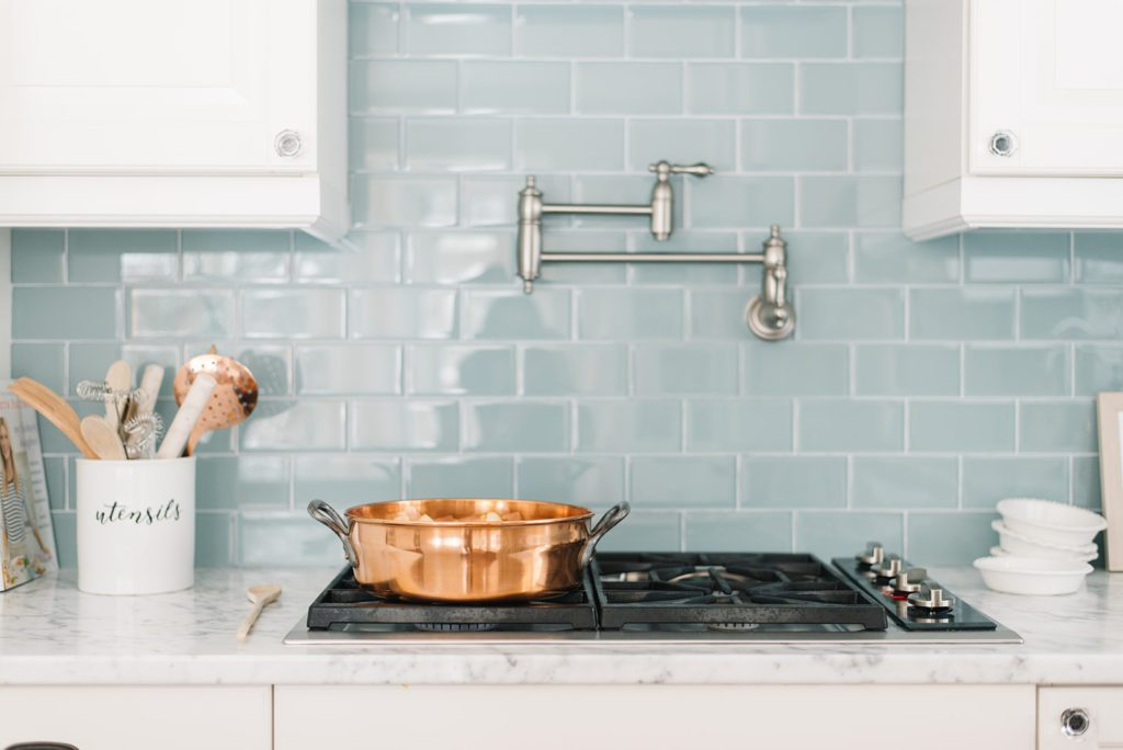 Marble countertops in the kitchen