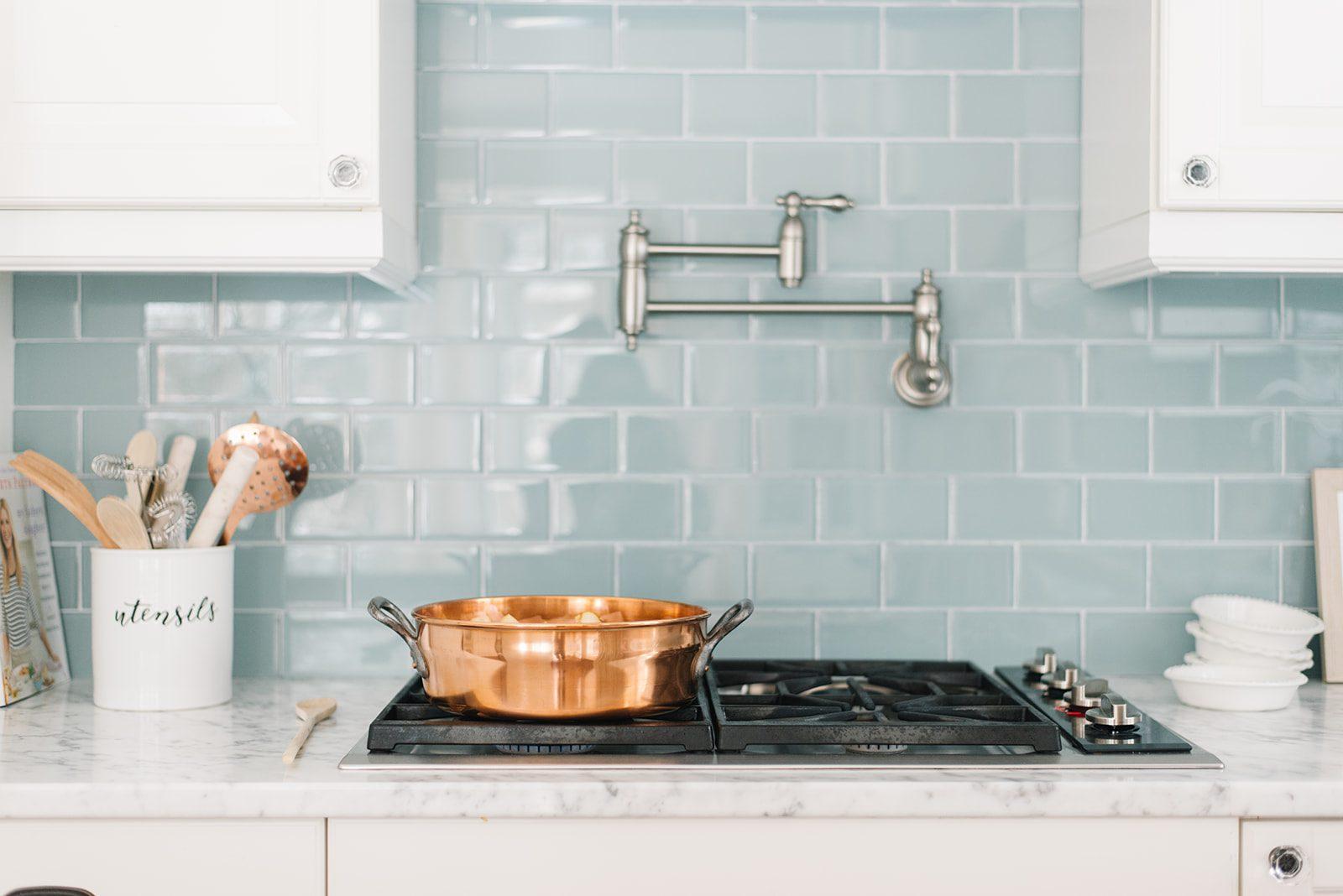 Farmhouse kitchen blue backsplash