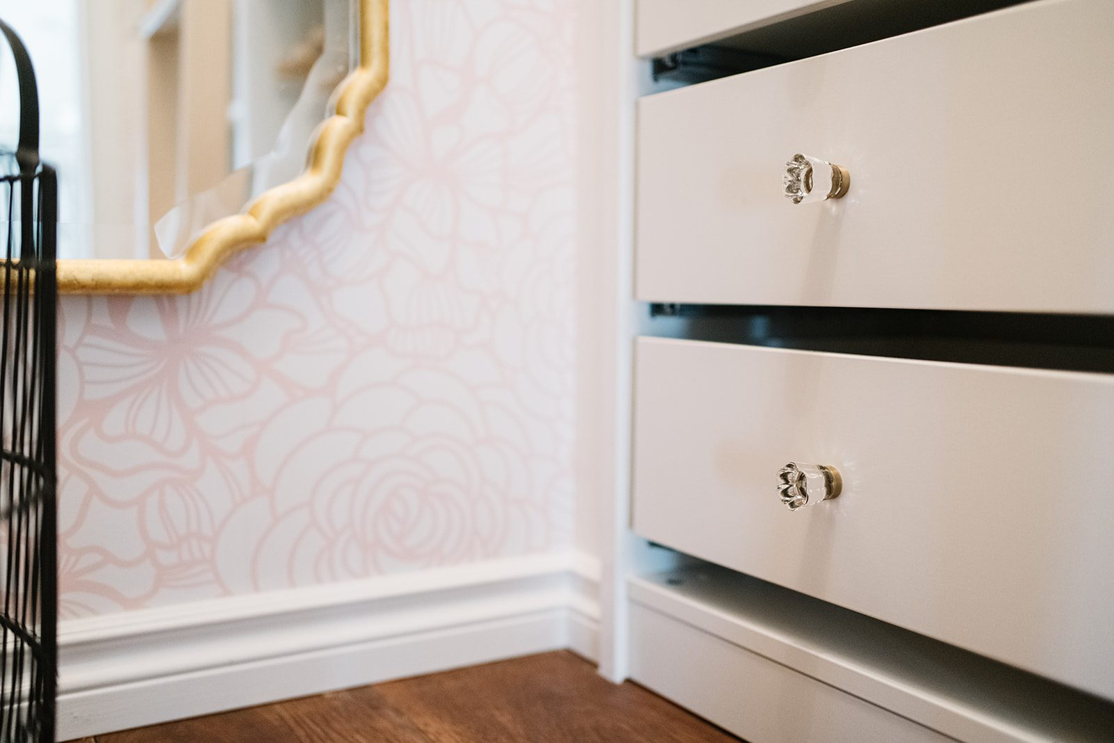 Designer closet with wallpaper