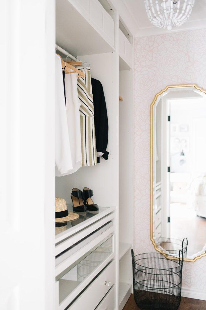 A custom closet renovation makes a small master closet dreamy on a budget