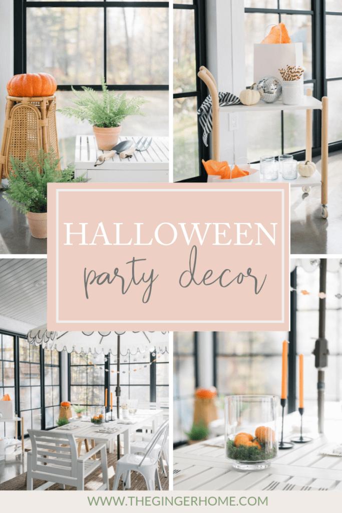 Halloween party decor ideas graphic.