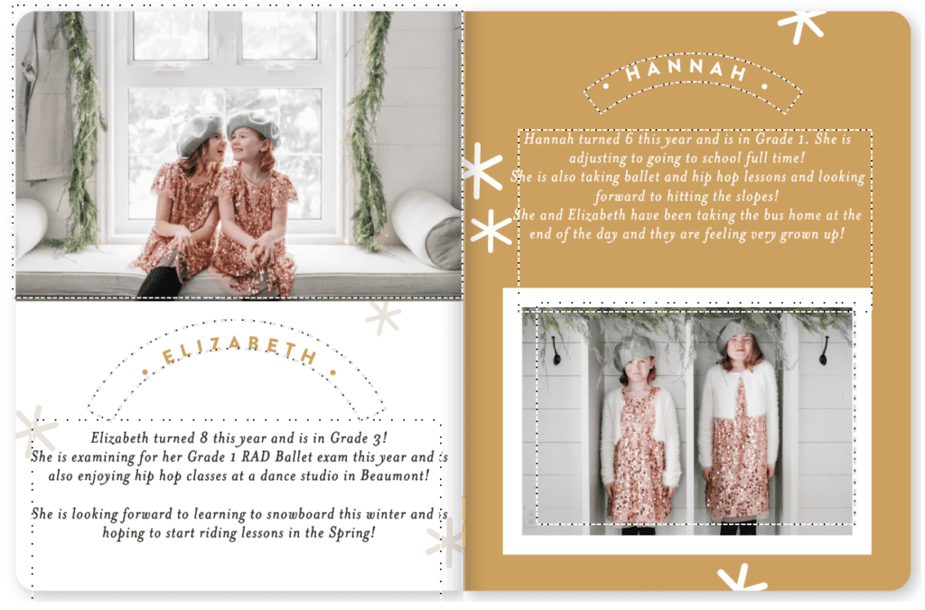 Personalized messages in Christmas card design!