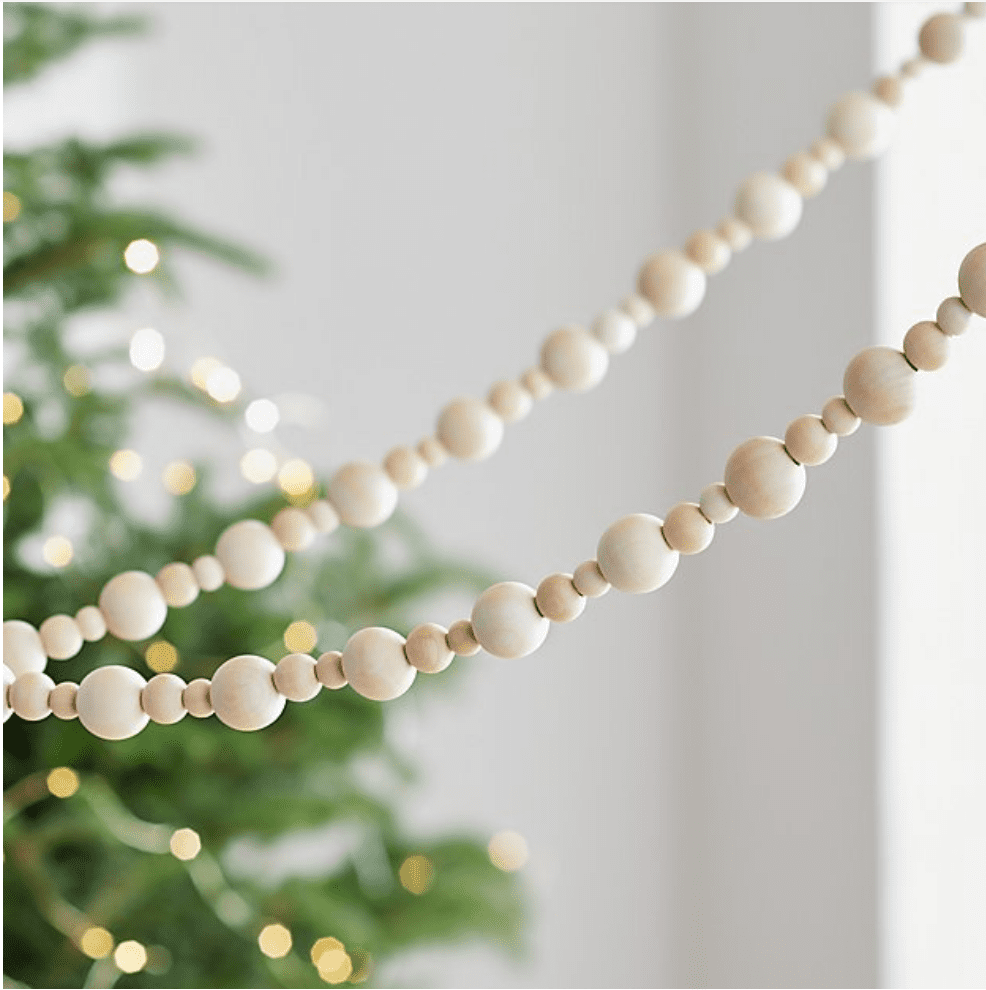 Wood bead garlands are simple and chic at Christmas