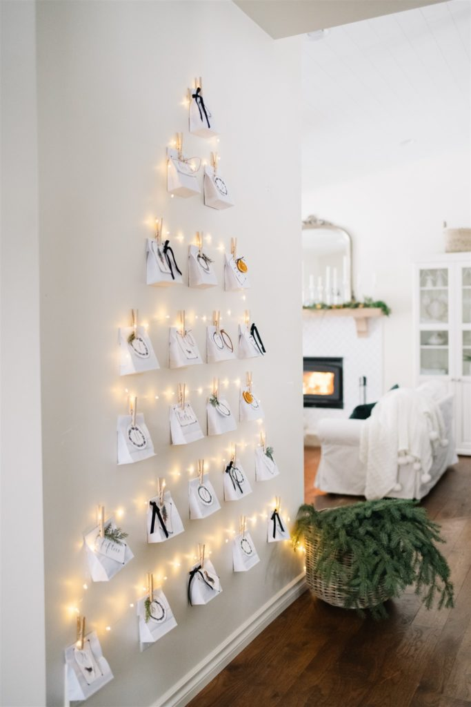 DIY  Christmas tree advent calendar with twinkle lights