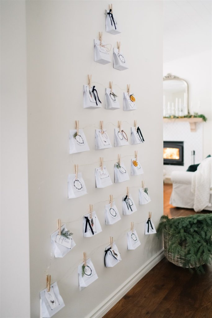DIY advent calendar with free printable tags and ideas for stuffers
