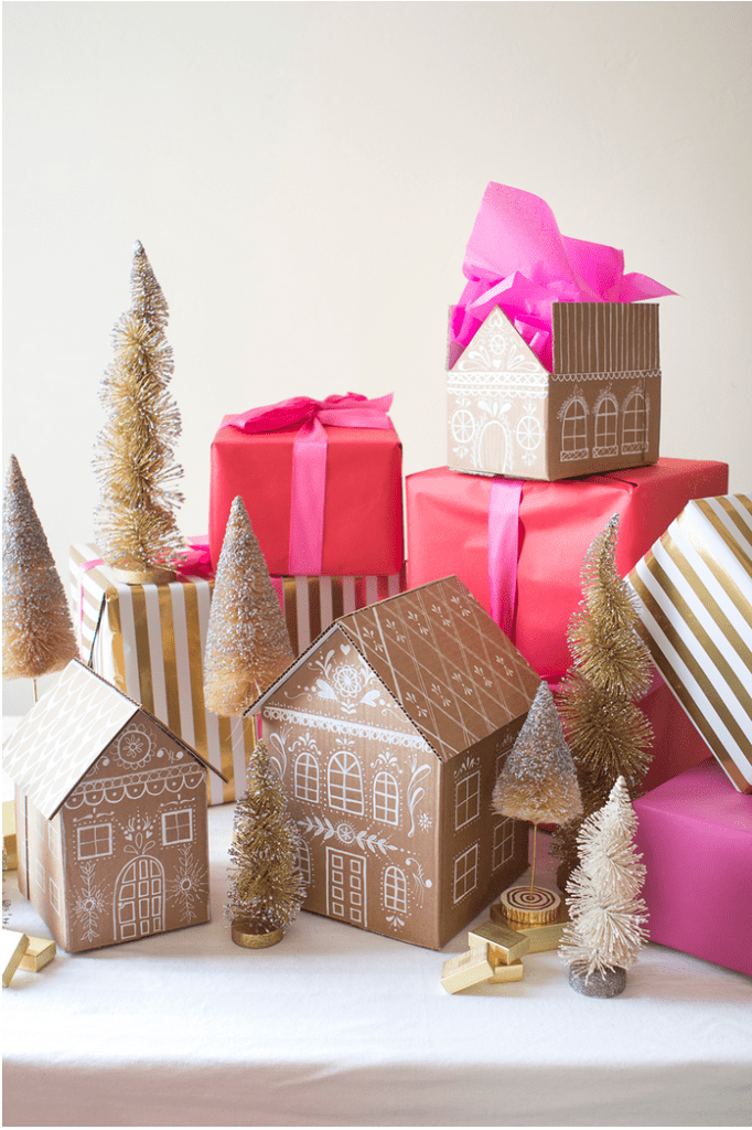 Paper free gift wrapping - gingerbread gift boxes