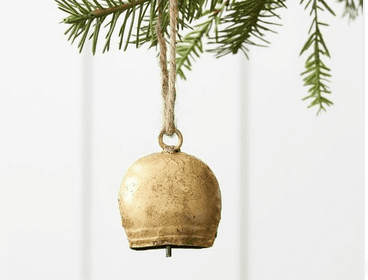 brass bells ornaments make a cheerful tinkling sound on the tree!