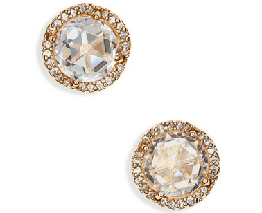 Glittering earrings for holiday outfits