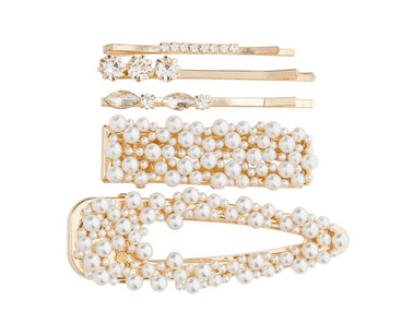 Glittering pearl barrettes are so pretty added to a holiday outfit