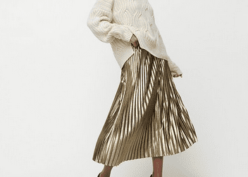 gold chiffon party skirt brings holiday cheer to your winter wardrobe