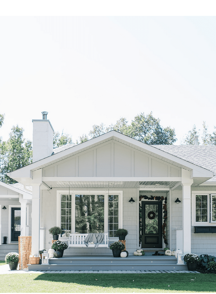 The Ginger Home Modern farmhouse style cottage home exterior.