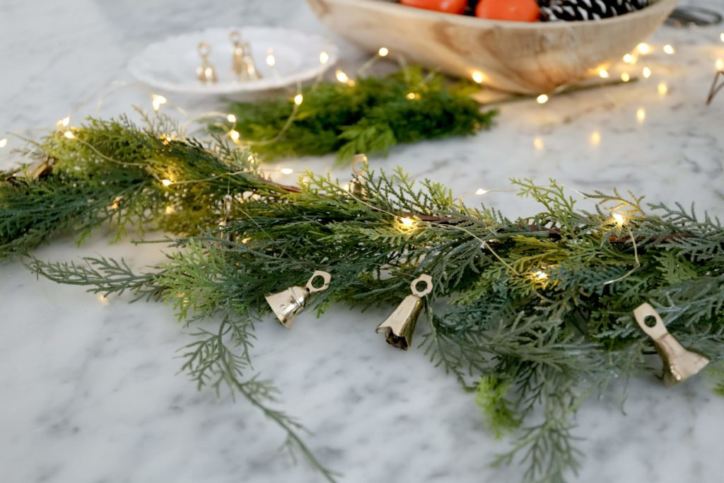 Brass bells are easy to use for simple DIY Christmas garlands