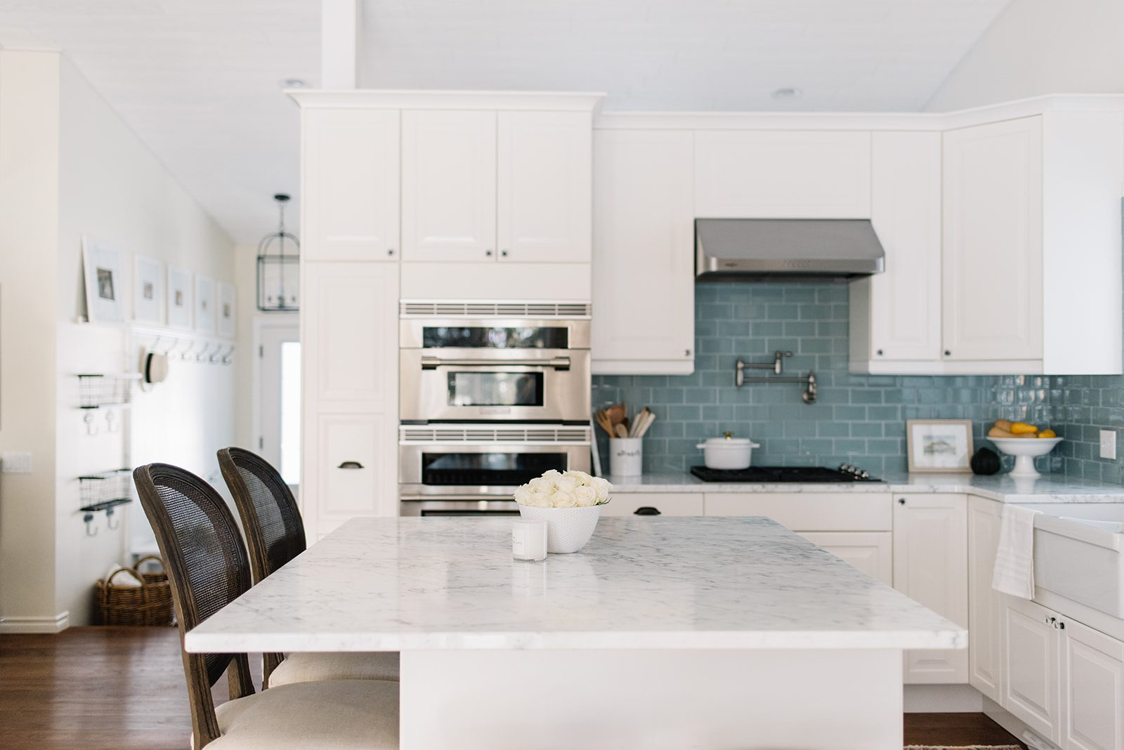 Bright white farmhouse kitchen