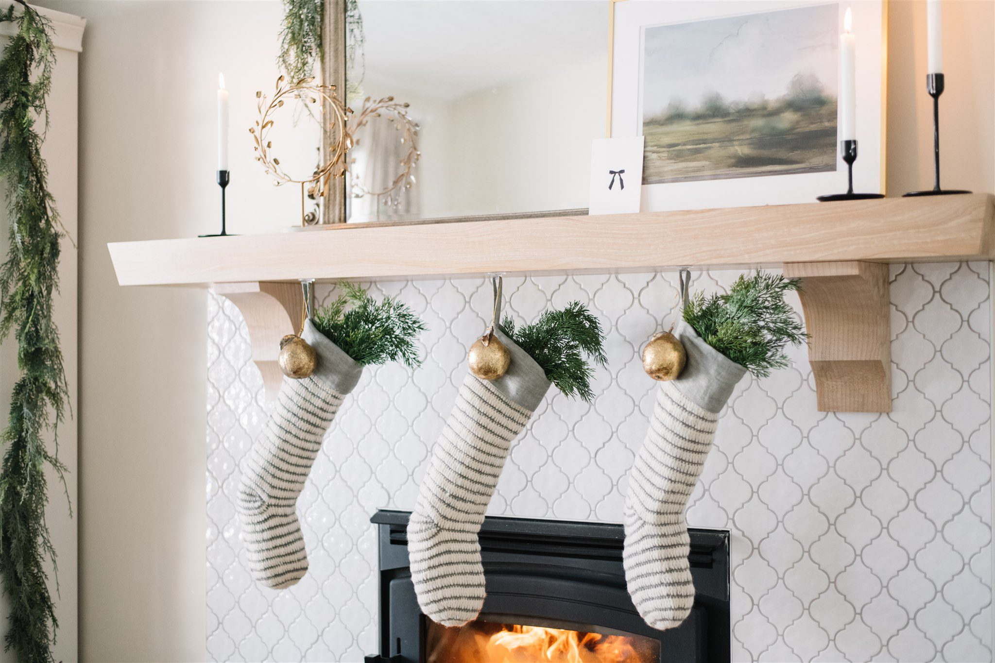 Neutral Christmas mantle decor