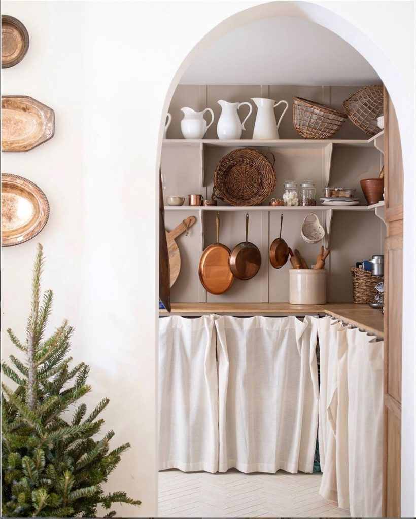 Skirting can hide unsightly items when you are organizing a pantry