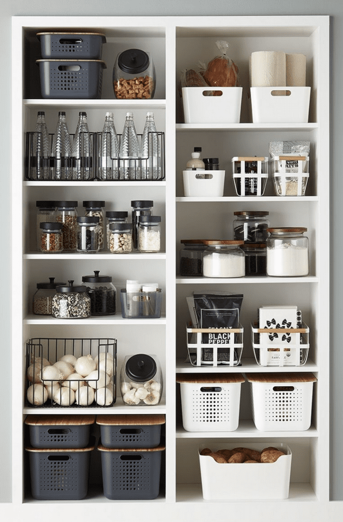 Streamline your pantry organization by taking everything out of packaging and arranging in containers