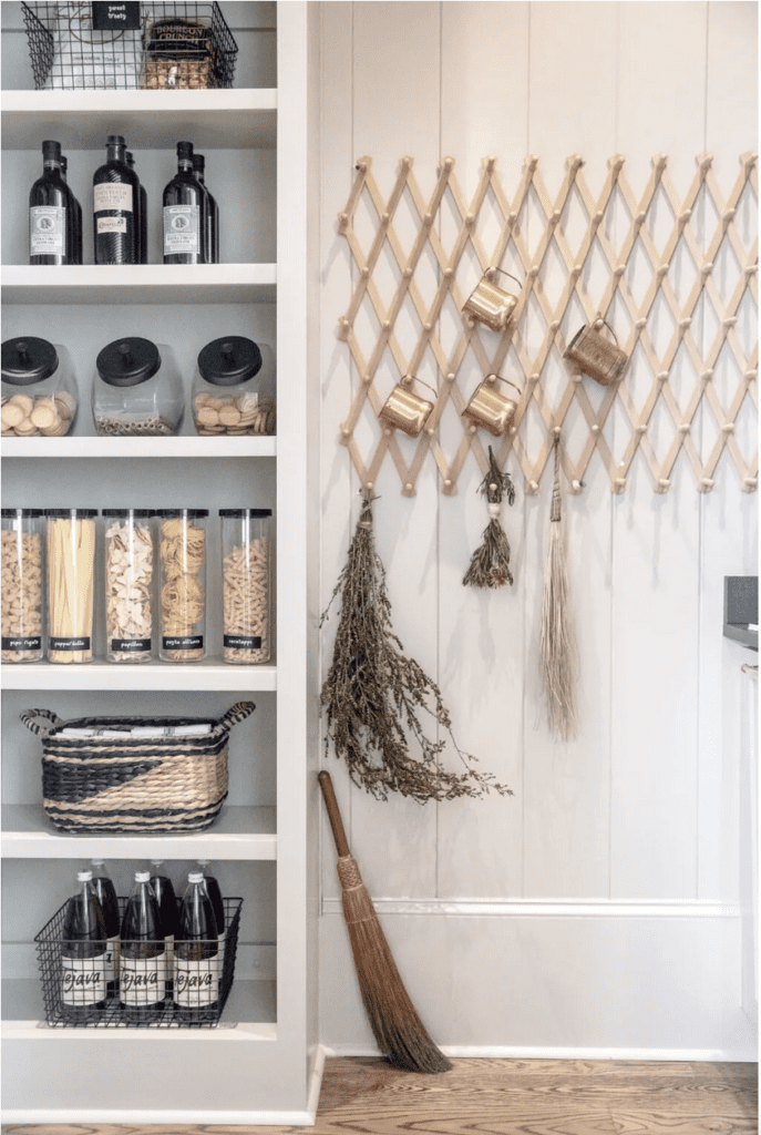 don't forget to use wall space when you organize a pantry space