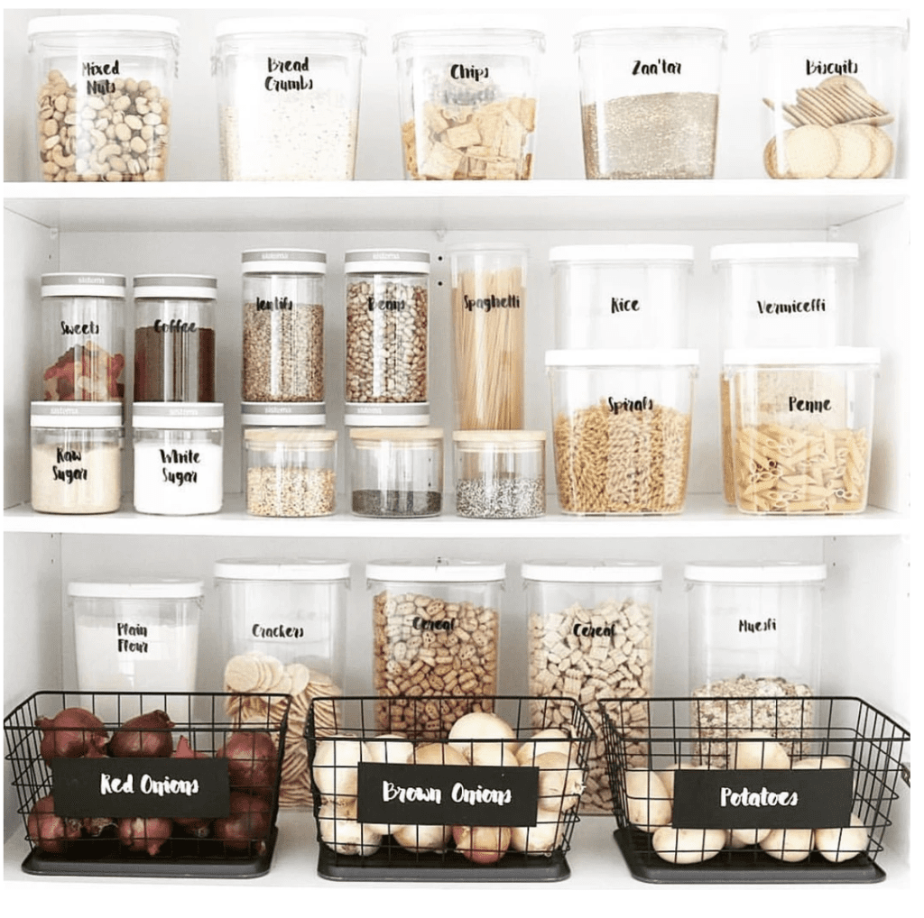 pantry organization - decant into clear containers with labels