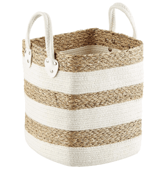woven baskets make excellent pantry storage containers