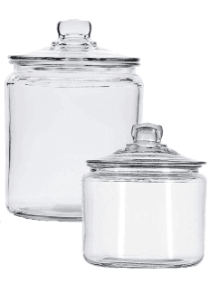 Clear glass canisters make it easy to get organized