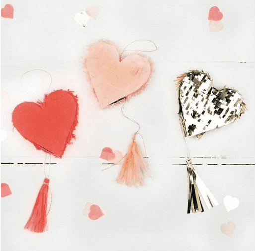 Heart pinata decor for Valentine's Day