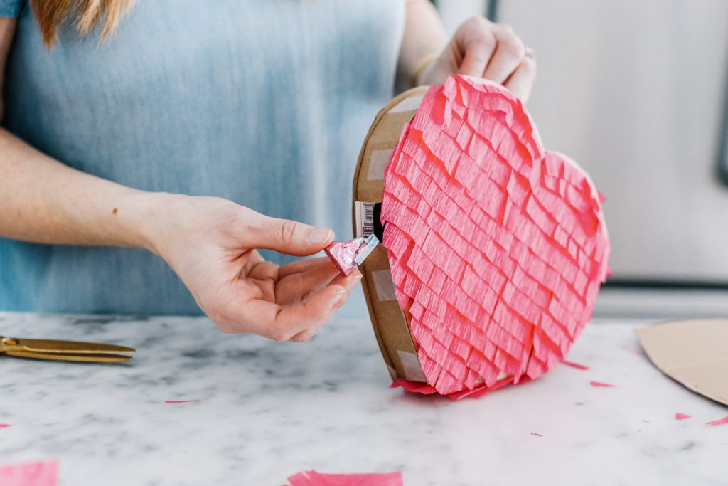 How to a heart pinata - add candy