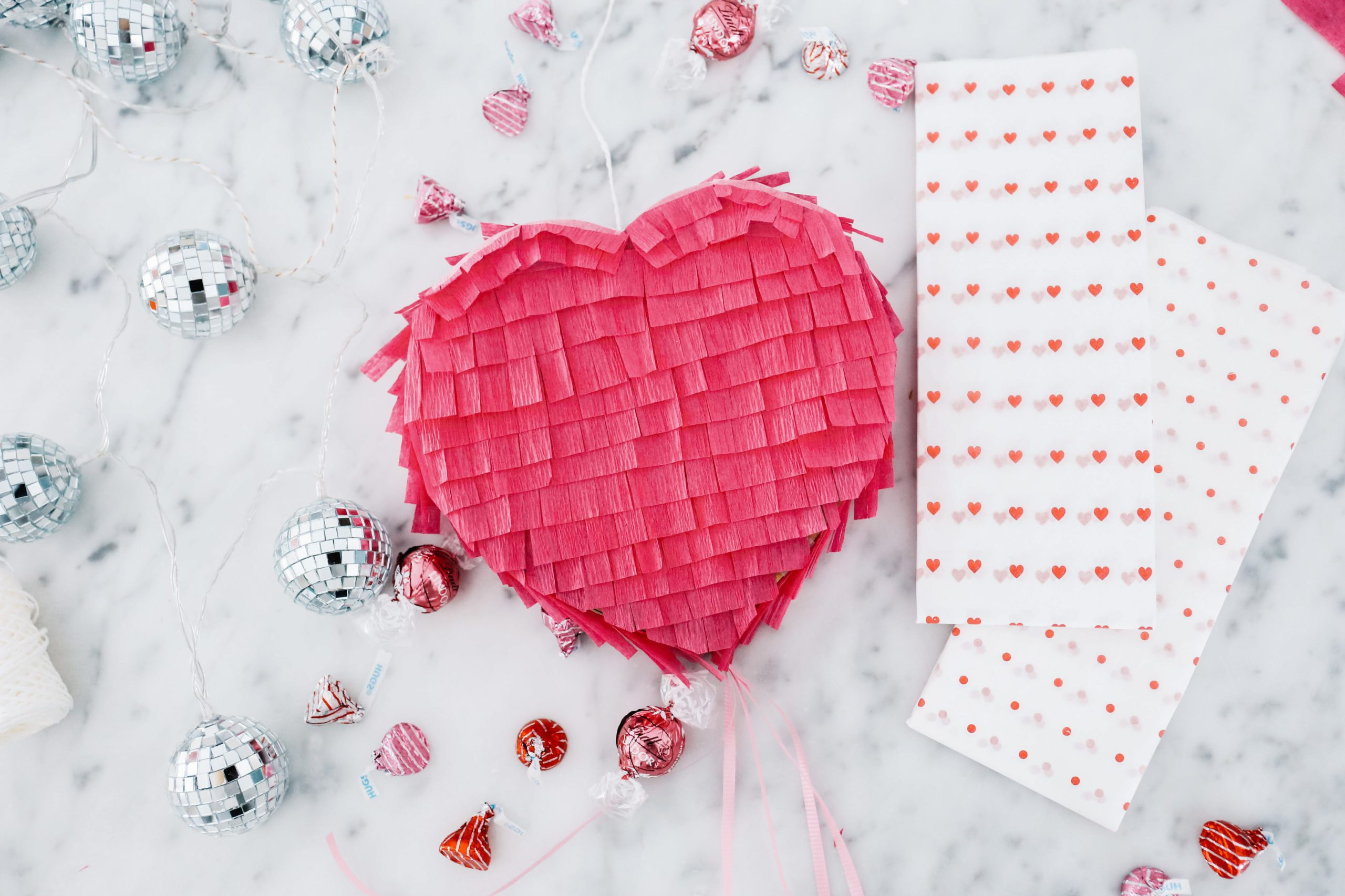 DIY Heart Pinata made out of cardboard