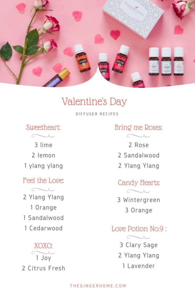 Valentine's Day Diffuser recipes - essential oil order ideas