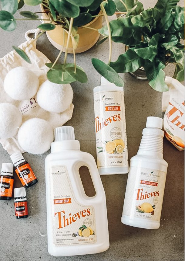 Spring cleaning supplies - Young Living Thieves Essential Oil Product Line