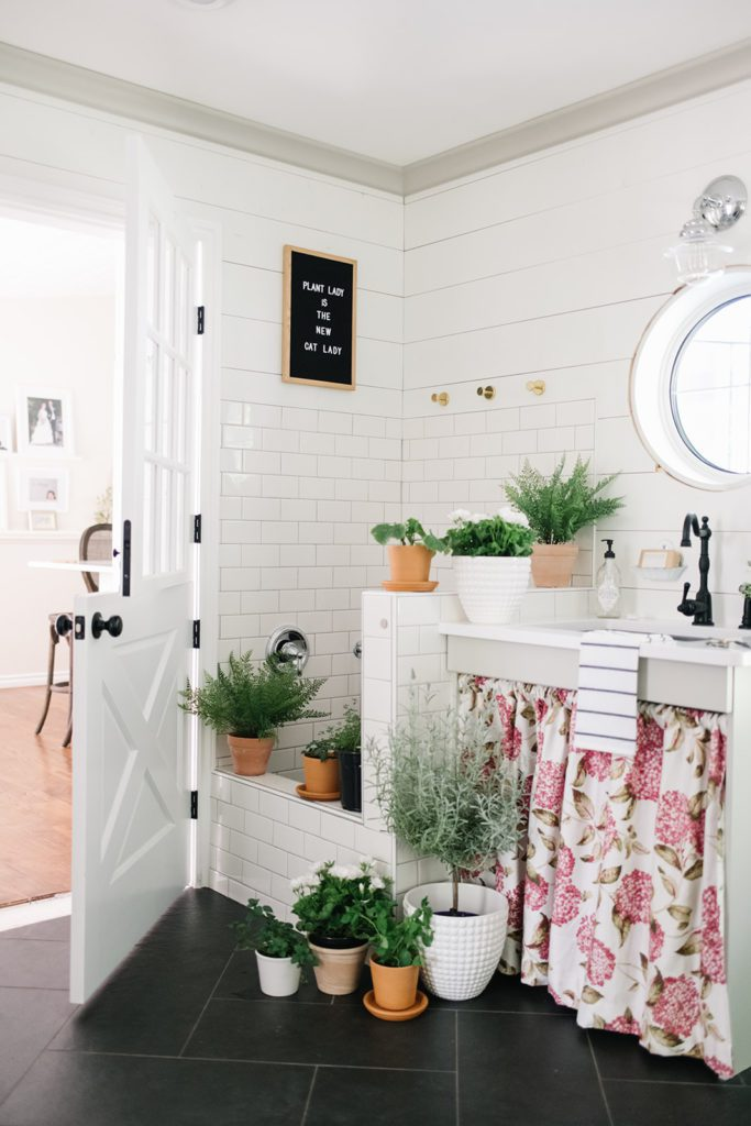 Plants in a mudroom - Spring home decor ideas