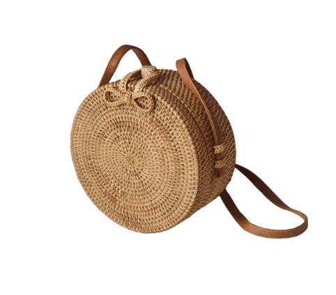 Woven rattan round crossbody bag
