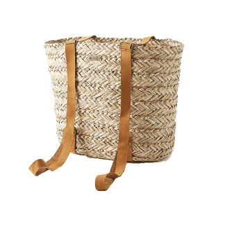 woven backpack with leather straps