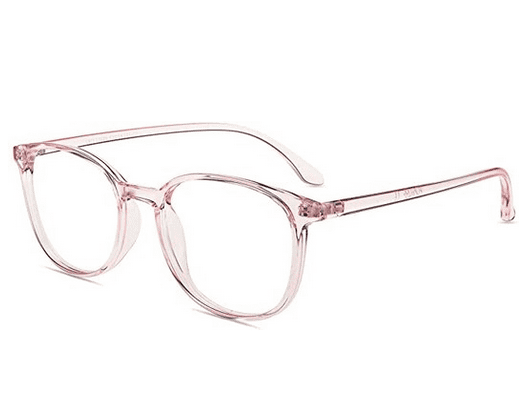 pink frame reading glasses