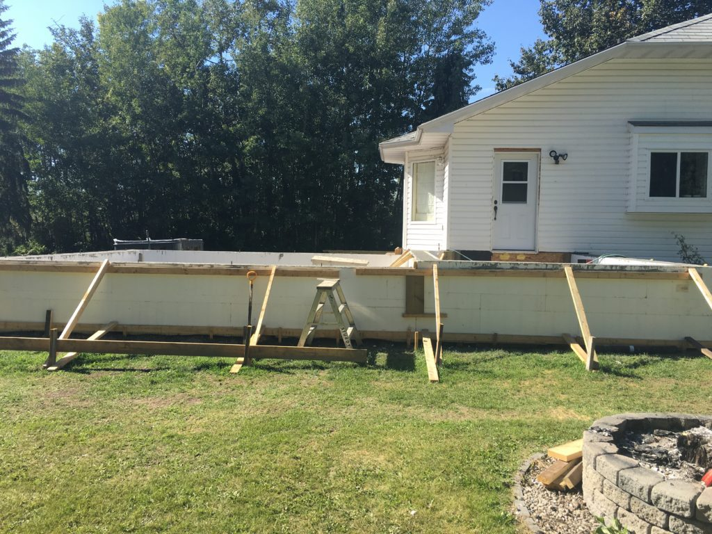 foundation of extension on small home being built from ICF blocks