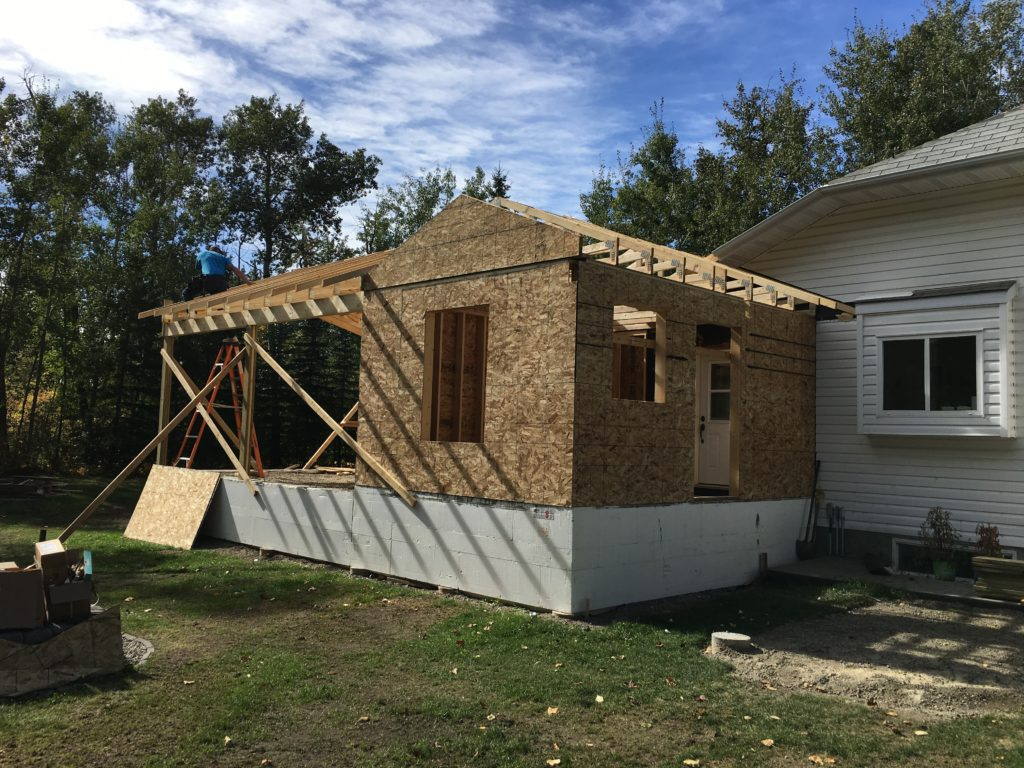 framing of addition on small home