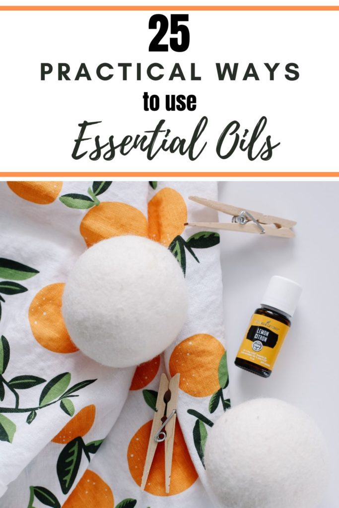 Wool dryer balls and lemon essential oil